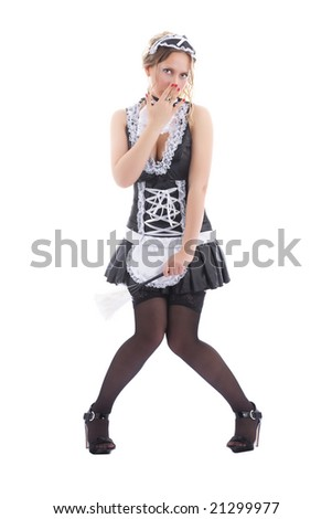Attractive maid made a mistake - stock photo