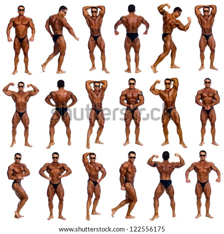 Attractive male body builder, demonstrating contest 18 pose, isolated on white background - stock photo