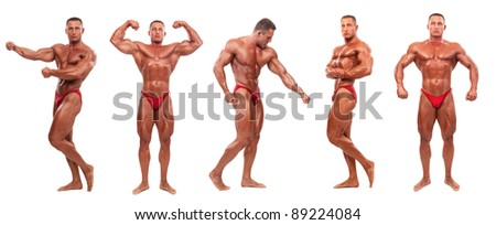 Attractive male body builder, demonstrating five contest poses, isolated on white background