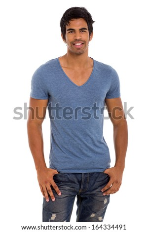 attractive male indian fashion model looking at the camera - stock photo