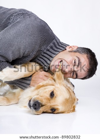 attractive man and his pet