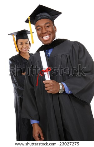 Attractive man and woman african american graduates - stock photo