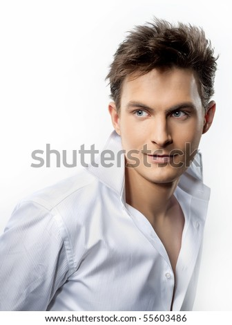 attractive man close up portrait on white background - stock photo