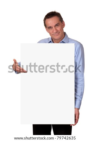 Attractive Man Holding Blank White Sign - stock photo