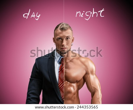 Attractive man in a business suit and without it on blue-pink background - stock photo