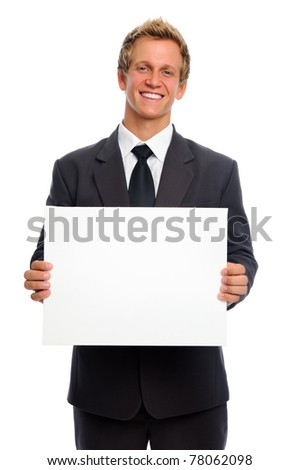 Attractive man in business suit with blank sign