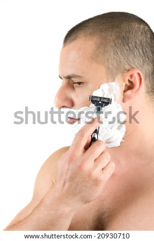 attractive man shaving, isolated on white