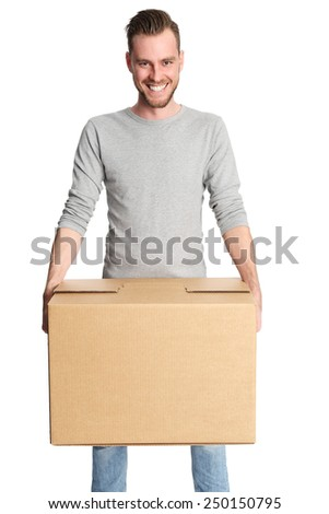 Attractive man with a cardboard box. Wearing casual clothing. White background. - stock photo