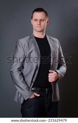 Attractive Man with gray background