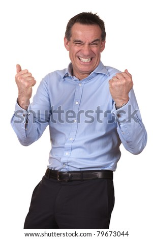 Attractive Man with Happy Excited Expression - stock photo