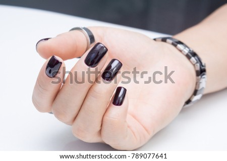 Attractive Manicure On Womens Hands Natural Stock Photo Edit Now
