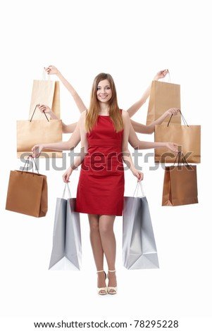 Attractive many-armed woman with shopping bags on white background