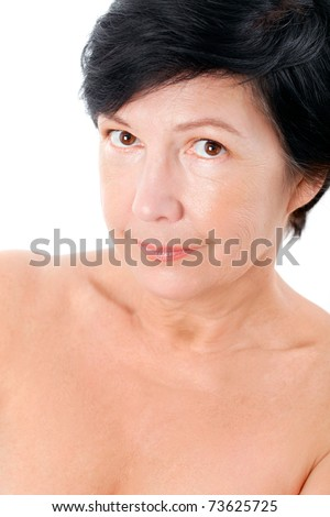 Attractive mature naked  lady - stock photo