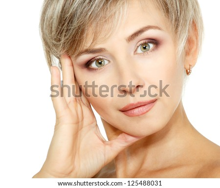 attractive mid adult woman, female face of beautiful caucasian middle 40 years old over white - stock photo
