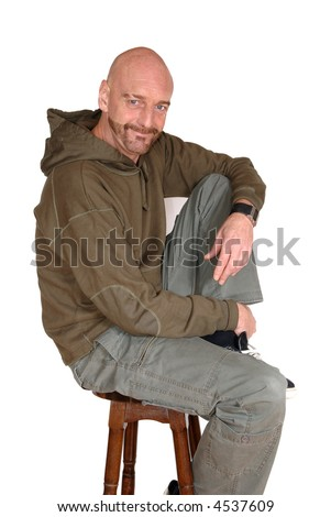 Attractive, mid fifties bearded, smiling middle aged man.  Casual dressed. Aging, beauty concept. - stock photo
