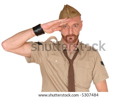 Attractive, mid fifties bearded soldier in uniform saluting, Defense, protection, pride, army concept - stock photo