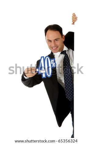 Attractive middle aged caucasian businessman behind a wall showing forty percent discount sign. Copy space. Studio shot. White background. - stock photo
