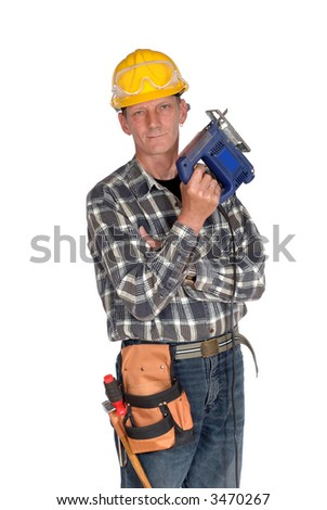 Attractive, middle aged handyman with hand saw and tool belt, carpenter. Construction concept.