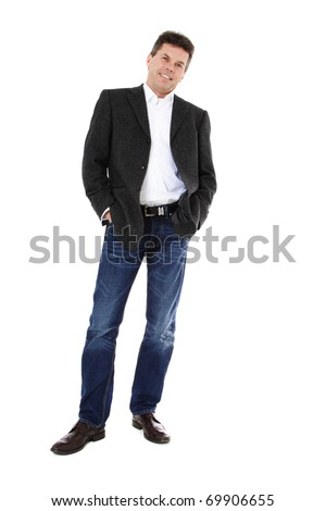 Attractive middle-aged man. All on white background. - stock photo