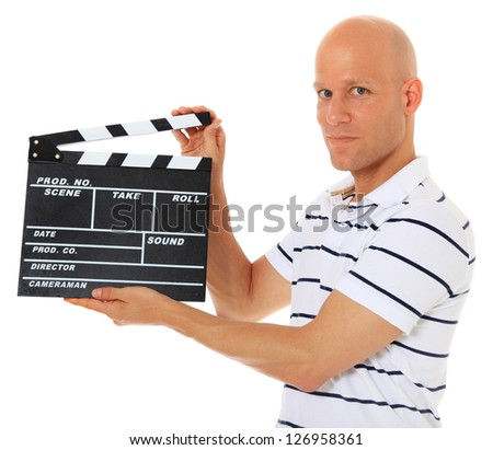 Attractive middle aged man holding slate. All on white background. - stock photo