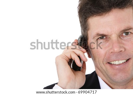 Attractive middle-aged man making a phone call. All on white background.
