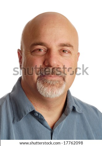 attractive middle aged man with bald shaved head on white background