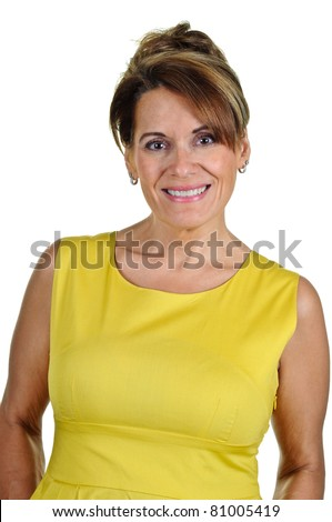 Attractive Middle Aged Woman in Yellow Summer Dress - stock photo