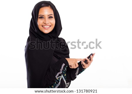attractive middle eastern woman with smart phone isolated on white - stock photo