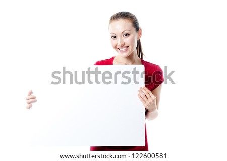 Attractive Mixed Asian Female smiling and holding the sign