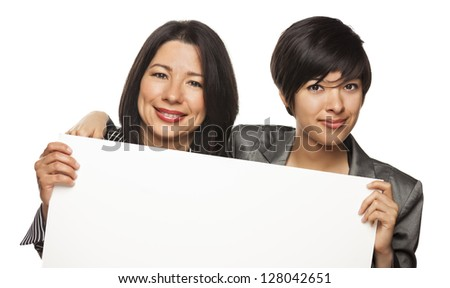 Attractive Mixed Race Mother and Daughter Holding Blank White Sign Isolated on a White Background. - stock photo