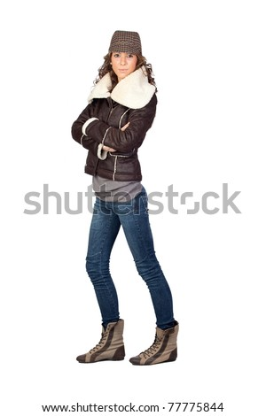 Attractive model girl isolated on white background - stock photo