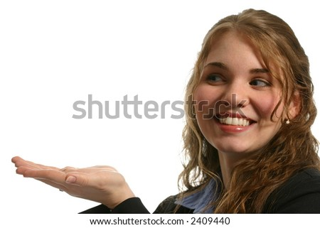 Attractive model with both hands under white space smiling - stock photo