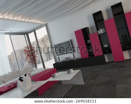 Attractive Modern Architectural Living Room Design with Glass Windows, Styled with Dark Pink, Black and White Furniture.. 3d Rendering. - stock photo