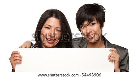 Attractive Multiethnic Mother and Daughter Holding Blank White Sign Isolated on a White Background. - stock photo