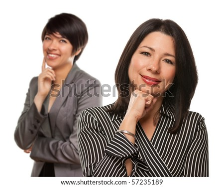Attractive Multiethnic Mother and Daughter Portrait Isolated on a White Background. - stock photo