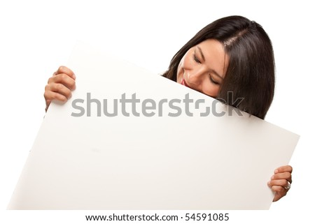 Attractive Multiethnic Woman Holding Blank White Sign Isolated on a White Background. - stock photo