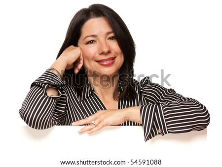 Attractive Multiethnic Woman Leaning on Blank White Sign Corner Isolated on a White Background. - stock photo
