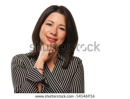 Attractive Multiethnic Woman Resting Her Chin on Her Hand Isolated on a White Background. - stock photo