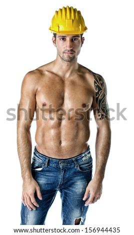 Attractive, muscular construction worker shirtless, wearing hard hat and jeans, isolated on white