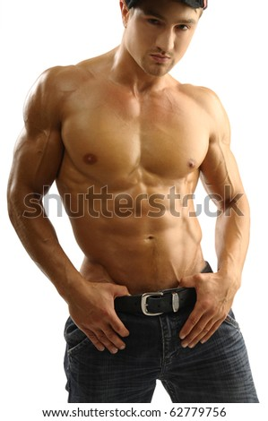 Attractive muscular man in jeans - stock photo