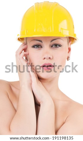 Attractive naked girl with hard hat - isolated on white background - stock photo