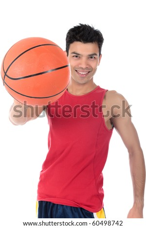 Attractive Nepalese man basketball player smiling, ball in hand. Studio shot. White background. - stock photo