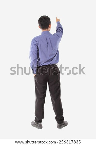 attractive of businessman standing with pointing
