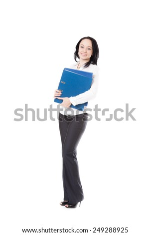Attractive office employee, beautiful young female in formalwear holding blue document case friendly smiling, isolated, full length - stock photo