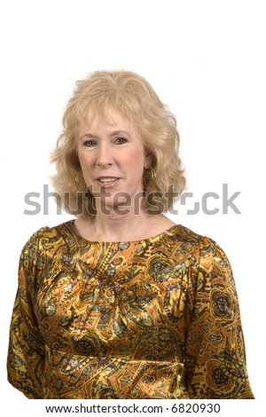Attractive older woman smiling and isolated on white - stock photo