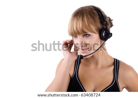Attractive operator with headset and a great smile! Isolated on a white background. - stock photo