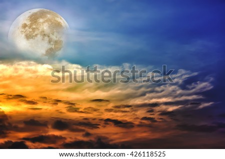 Attractive photo of a beautiful sky with clouds, bright full moon would make a great background. Beauty of nature use as background. Outdoors. - stock photo