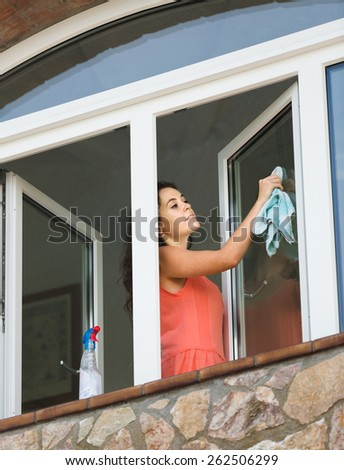 Attractive positive  maid cleaning windows with rag and sprayer - stock photo