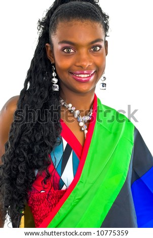 attractive pretty african girl wrapped in a colorful shawl