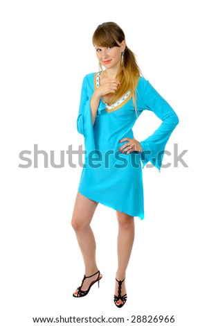attractive pretty smiling girl, isolated on white - stock photo